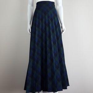 Vintage Navy Plaid Pleated Maxi Skirt